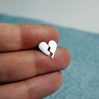 Made To Order  Tiny Broken Heart Stud Earrings by by MarKhed