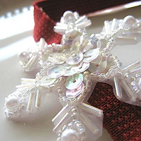 Snowflake Headband Elastic Beaded Applique Pearls
