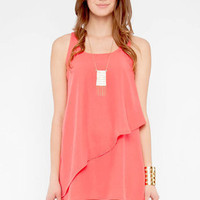 Tiered Tunic Dress in Coral :: tobi