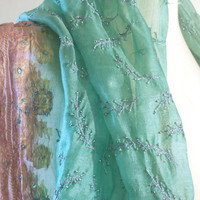 Pink Green Silk Scarf, Embroidered Scarf, Silk Sari Scarf, Indian Scarf Women Accessories Scarves