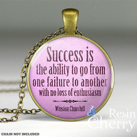 Winston Churchill quote jewelry pendant, glass pendants, resin pendant charm- Q0118CP