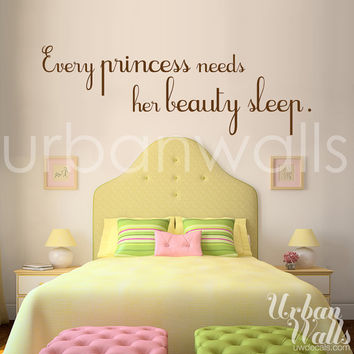 Vinyl Wall Sticker Decal Art, Pink and Brown, Every Princess needs her Beauty Sleep