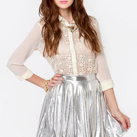 Royal Highness Metallic Silver Skirt