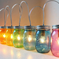 Rainbow PARTY LIGHTS - Mason Jar Banner Lighting Fixture with 8 jars - Upcycled Rustic Wedding Holiday string of Lights - BootsNGus lamps
