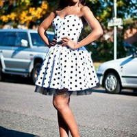 Black & White Polka Dot Party Dress With by styleiconscloset