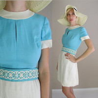 Free Shipping vtg 60s MINI DRESS Turquoise by TigerlilyFrocks
