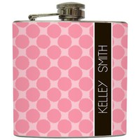 "Liquid Courage Flasks: ""Pink Polka Dot"" - Personalzied Flask"