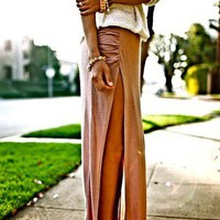 Sexy Minimalist Thigh High Slit Ruched Fitted Split Jersey Long Maxi Skirt SML