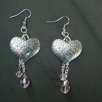 Silver Heart Earrings with Pink Beads