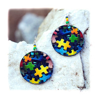 Clolorful Puzzle Decoupage Earrings - Yellow Navy Blue Green Pink | Luulla