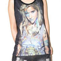 KESHA Black Singlet Tank Top Sleeveless Women Indie Pop Rock Size M