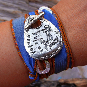 Anchor Jewelry, STERLING Silver Jewelry, I Refuse to Sink Quote, Inspirational Silk Wrap Bracelet, Handmade Survivor Jewelry