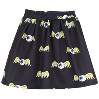 "ROMWE | ""Flying Eyeballs"" Black Skirt, The Latest Street Fashion"