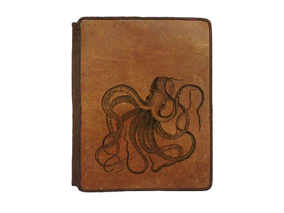 Ipad 2 Leather Book Cover Case  Octopus by joevleather on Etsy