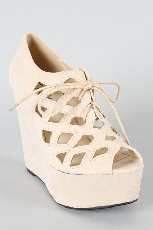 Gisela-02 Cut-Out Peep Toe Wedge Bootie