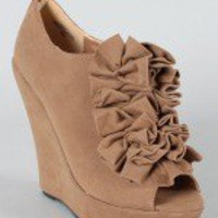Hotty-1 Ruffle Peep Toe Wedge Bootie