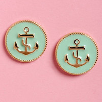 Anchorwoman Mint Green Anchor Earrings