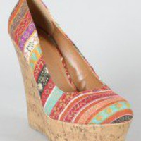 Delicious Meroz-S Tribal Print Platform Wedge