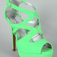 Qupid Glitter-113 Cut Out Peep Toe Sandal