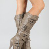 Anne Michelle Chaos-05 Strappy Pointy Toe Knee High Boot
