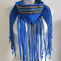 Fringe T Shirt Scarf, Cobalt Blue with tribal trim and beads, shirt scarf, bohemian infinity jersey scarf