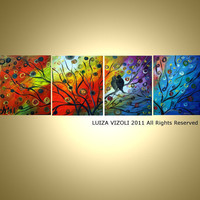 Modern Abstract Landscape Birds Tree Sunset Seasons by LUIZAVIZOLI