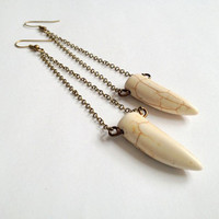 Long White Howlite Chain Earrings