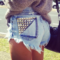 SALE Customize Studded High Waisted Shorts by InfinitynBeyondx