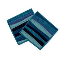 Modern Pot Holders, Blue Potholders, Modern Hotpads (set of 2)