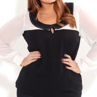 Plus Size Spliced Peter Pan Top - City Chic - City Chic