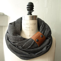 Chunky charcoal circular infinity scarf