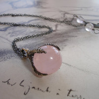 Rose Quartz Marble and Talon Pendant Necklace, Claw Pendant, Sterling Silver, Minimalist, Fantasy