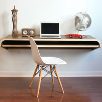 Orange22 Design Lab Shop - Modern Innovations, Furniture and Home Decor — Minimal Float Wall Desk - Walnut