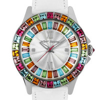 Betsey Johnson Multicolored Crystal Bezel Watch | Nordstrom