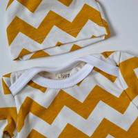 Neutral take home Set. Gown and hat.  White and mustard color chevron print.   (Made by lippybrand)