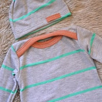 Baby coming home set. Gown and hat.  Gray with bright spring green stripes.   (Made by lippybrand)
