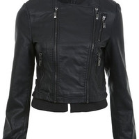 Black Pu Zip Bomber - View All  - New In