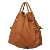 Slouchy Femme Fatale Leather Handbag in Noce by iyiamihandbags