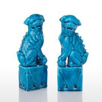 One Kings Lane - Market Street - Pair of Turquoise Foo Dogs, 6""