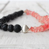 Black Lava Rock Watermelon Rose Quartz Necklace, Pink and Black Jewelry, Dainty Casual Jewelry, Winter 2013, Santorini Jewelry