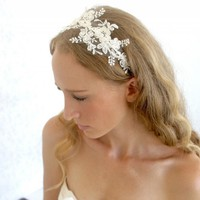 Lace Headpiece - Bridal Ivory Beaded Lace With Pearls Wedding Headband | Luulla
