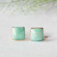 Little Square Geometric Stud Earring - Mint green