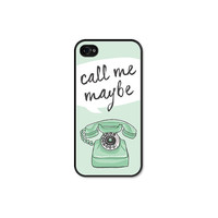 Call me Maybe Vintage Phone iPhone 4 Case - iPhone 4 Skin - Mint Green Black iPhone 4 Cover Cell Phone