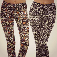 Aztec Tribal Leggings Stretch Indian Print Fashion Trend Ladies Trousers Pants