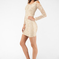 Cold Shoulders Lace Dress in Nude :: tobi