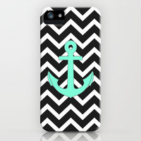 Tiffany Turquoise Anchor Black Zigzag Pattern iPhone Case by RexLambo | Society6