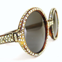 Vintage 60s Round Rhinestone Sunglasses Frame by Vintage50sEyewear