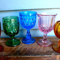 Vintage Glasses 5 Jewel Tones by LunaParkVintage on Etsy