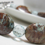 Earth Bead Bracelet of Aqua Brown Calsilica and by sedgeworks