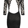 Open Back, 3/4 Sleeve Black Lace Dress